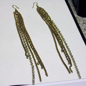 Gold Chain and Crystal Drop Earrings